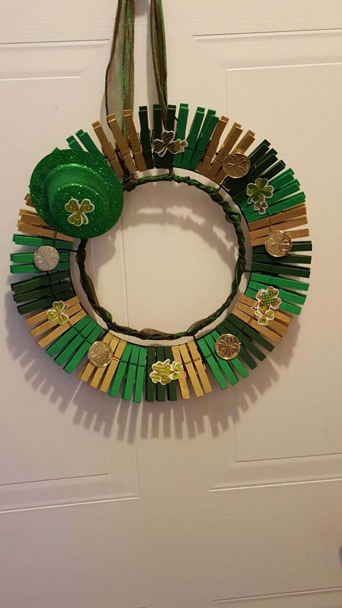 Thematic Wreath For Saint Patrick #diy #clothespin #wreath #crafts #decorhomeideas