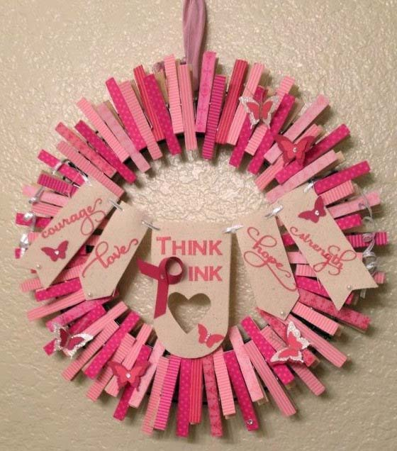Pink Wreath With Encouraging Statements #diy #clothespin #wreath #crafts #decorhomeideas