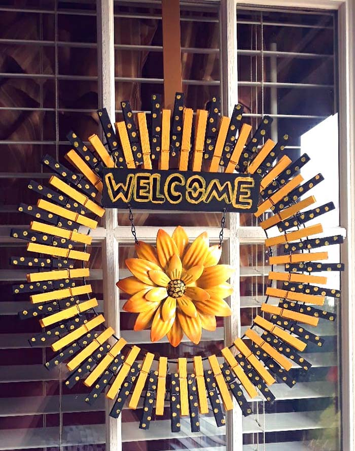 Welcome Home Clothespin Wreath #diy #clothespin #wreath #crafts #decorhomeideas