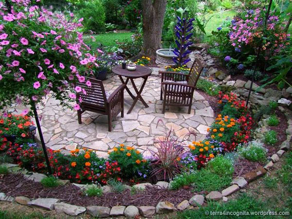 Backyard Bed Edgings With Pebbles