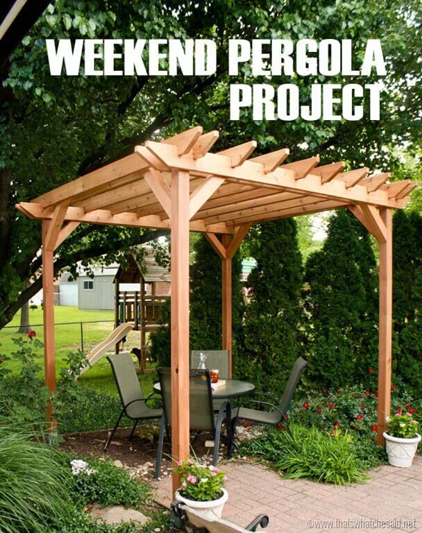 Backyard Getaway Pergola Project #diy #project #backyard #garden #decorhomeideas
