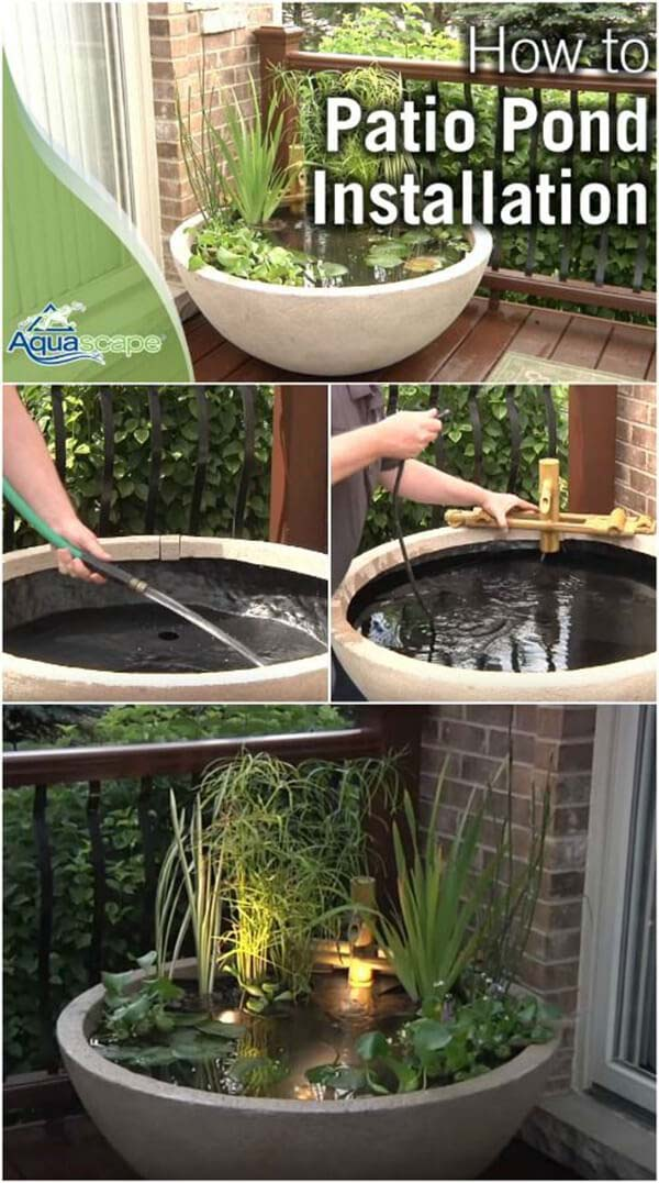 Beautiful Planted Zen Container Pond #pond #diy #garden #waterfeature #decorhomeideas