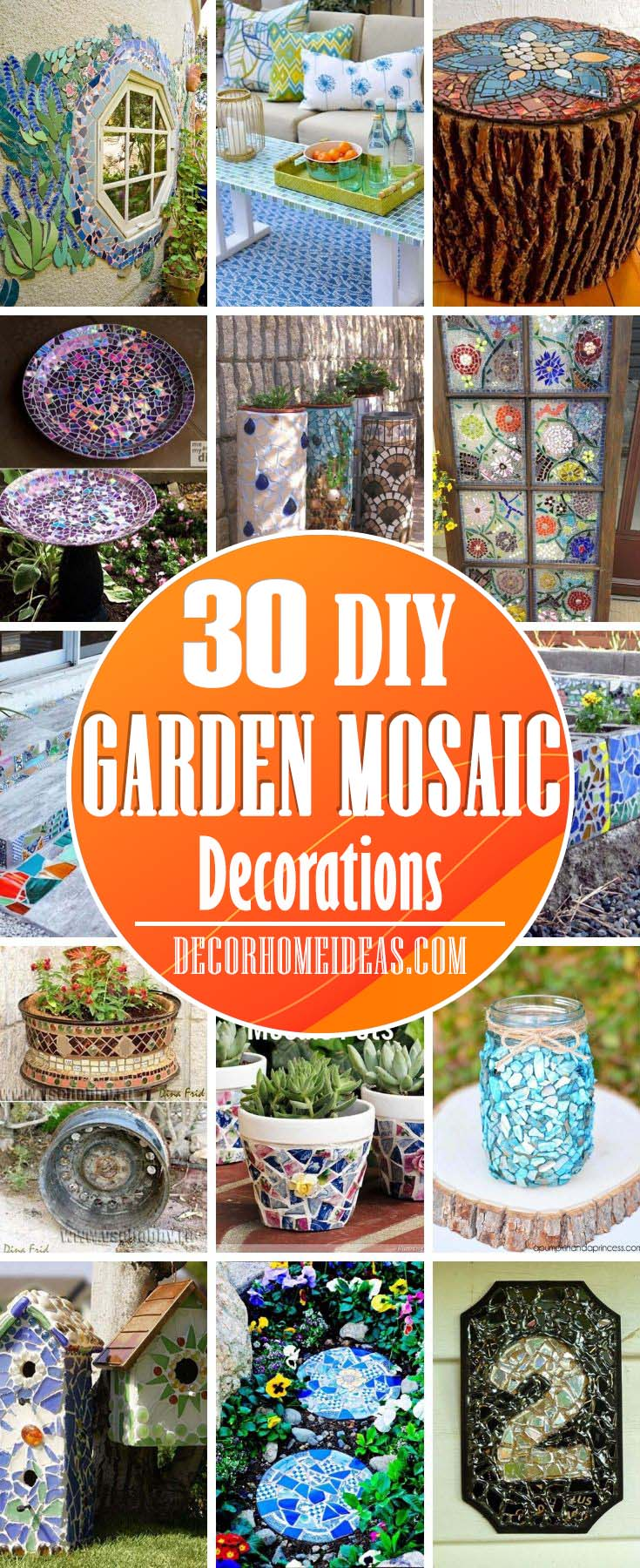 Best DIY Garden Mosaic Decoration Ideas. Mosaics are a unique way to bring color and style to your garden or backyard. You can DIY these mosaic ideas and brighten up your outdoor space. #diy #garden #mosaic #decorations #decorhomeideas