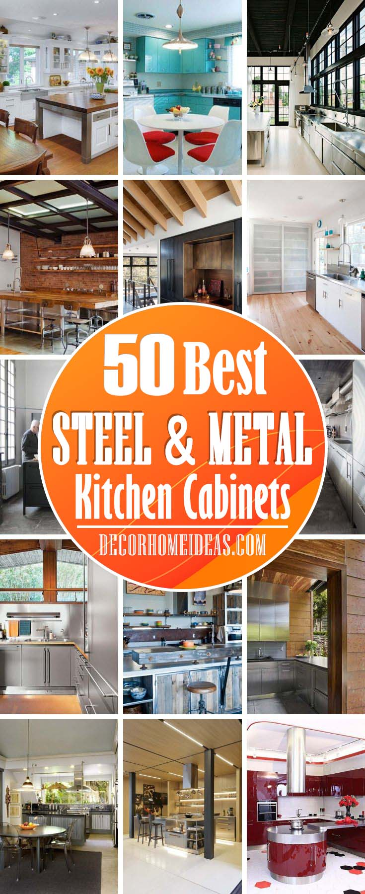Best Metal Kitchen Cabinets. Metal steel kitchen cabinets ideas and designs, trends and paint colors. Photos of interior design with metal kitchen cabinets. #metal #steel #kitchen #cabinets #decorhomeideas