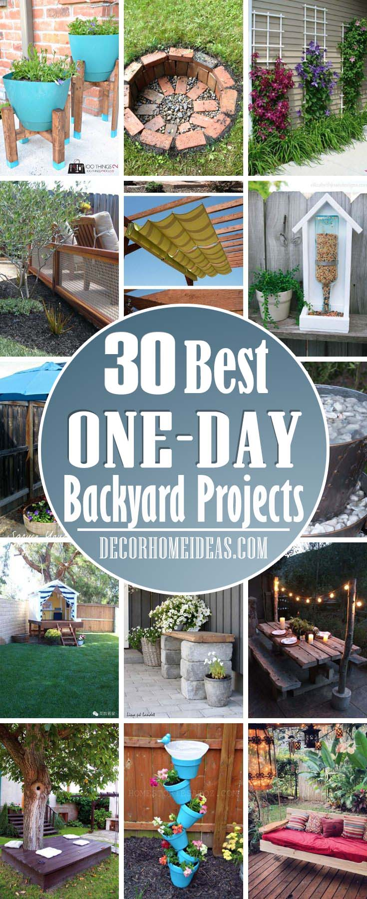 Best One Day Backyard Project Ideas. Great summer DIY project for your garden or backyard. Fire pit, trellis, flower planter or swing - you name it. #diy #projects #backyard #garden #oneday #decorhomeideas