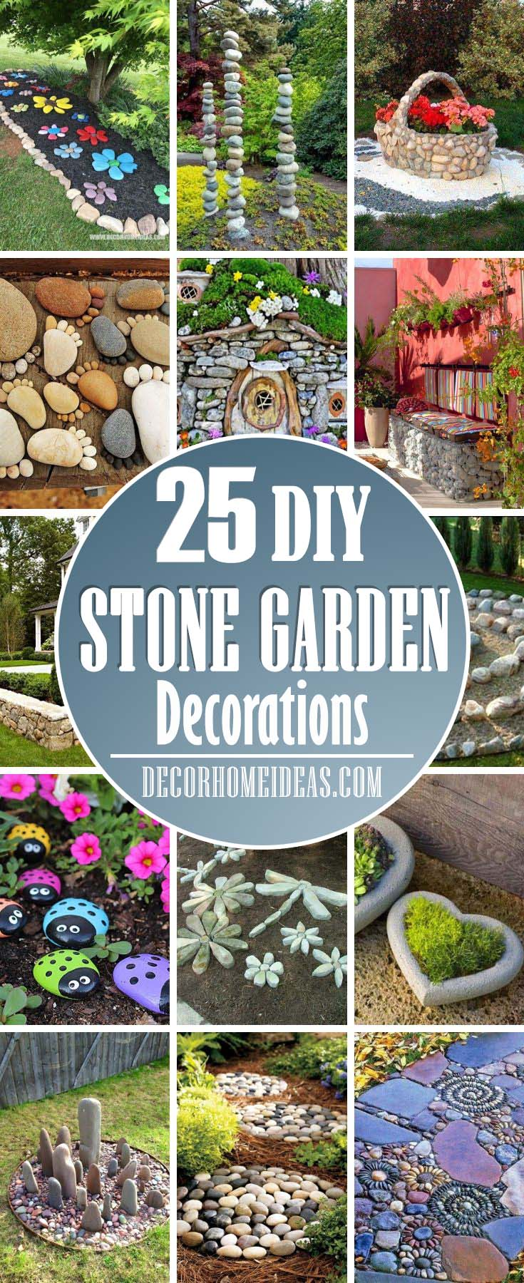 Best Stone Garden Decorations. Spruce up your garden with these cute stone and rocks DIY decorations. #garden #rocks #ideas #decor #decorhomeideas