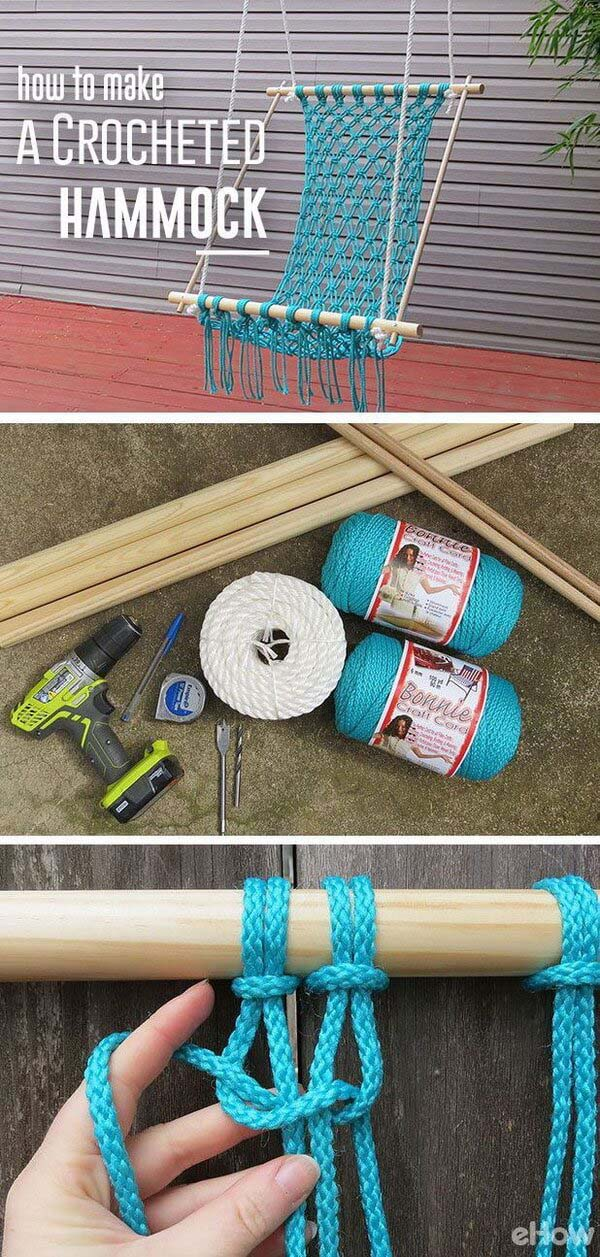 Caribbean Blue Crochet Hammock #diy #project #backyard #garden #decorhomeideas