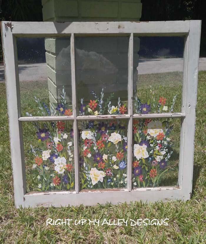 Charming Hand-Painted Repurposed Windows #diy #rustic #summer #decorations #decorhomeideas