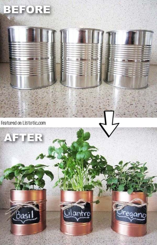 Coffee Tin Makeover Herb Garden #diy #herbgarden #herbs #garden #ideas #decorhomeideas