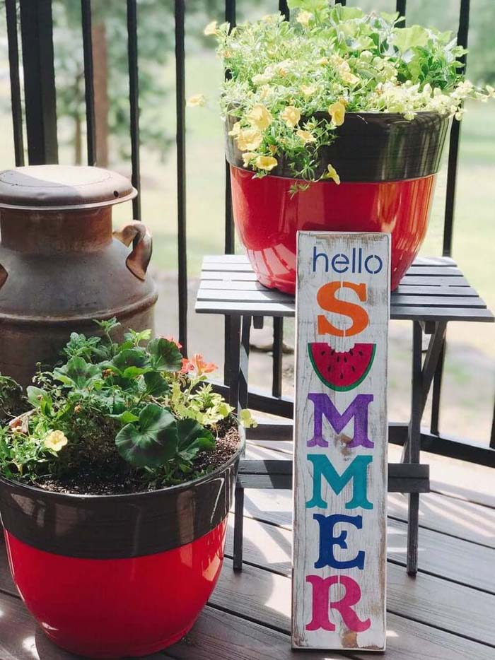 Colorful Hello Summer Wooden Sign #diy #rustic #summer #decorations #decorhomeideas