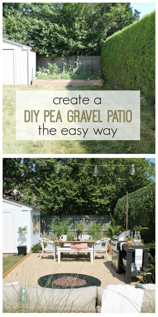 Corner Jardin Pea Gravel Patio #diy #project #backyard #garden #decorhomeideas