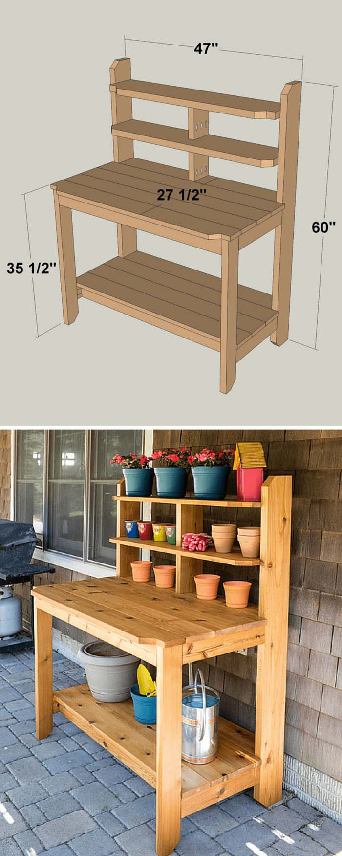 Cottage Garden Planter's Stand #diy #project #backyard #garden #decorhomeideas