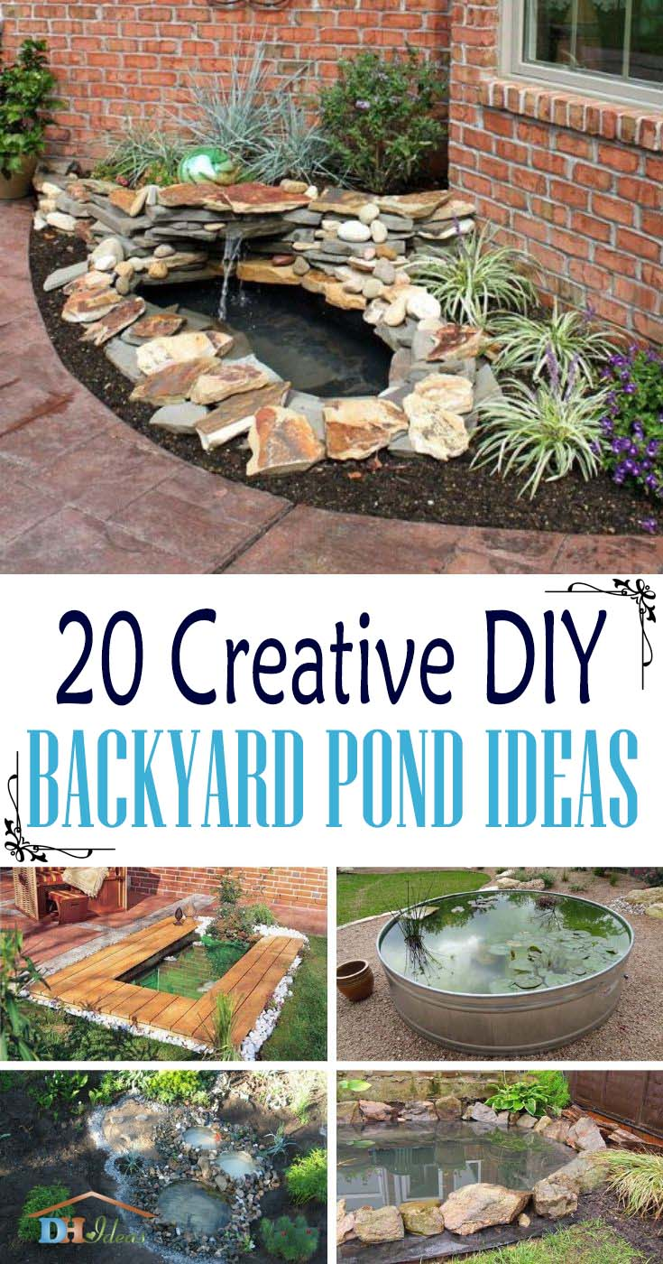 Creative DIY Backyard Pond Ideas. How to make your own pond in your garden. Best tutorials and step by step instruction on DIY water features. #diy #pond #backyard #garden #decorhomeideas
