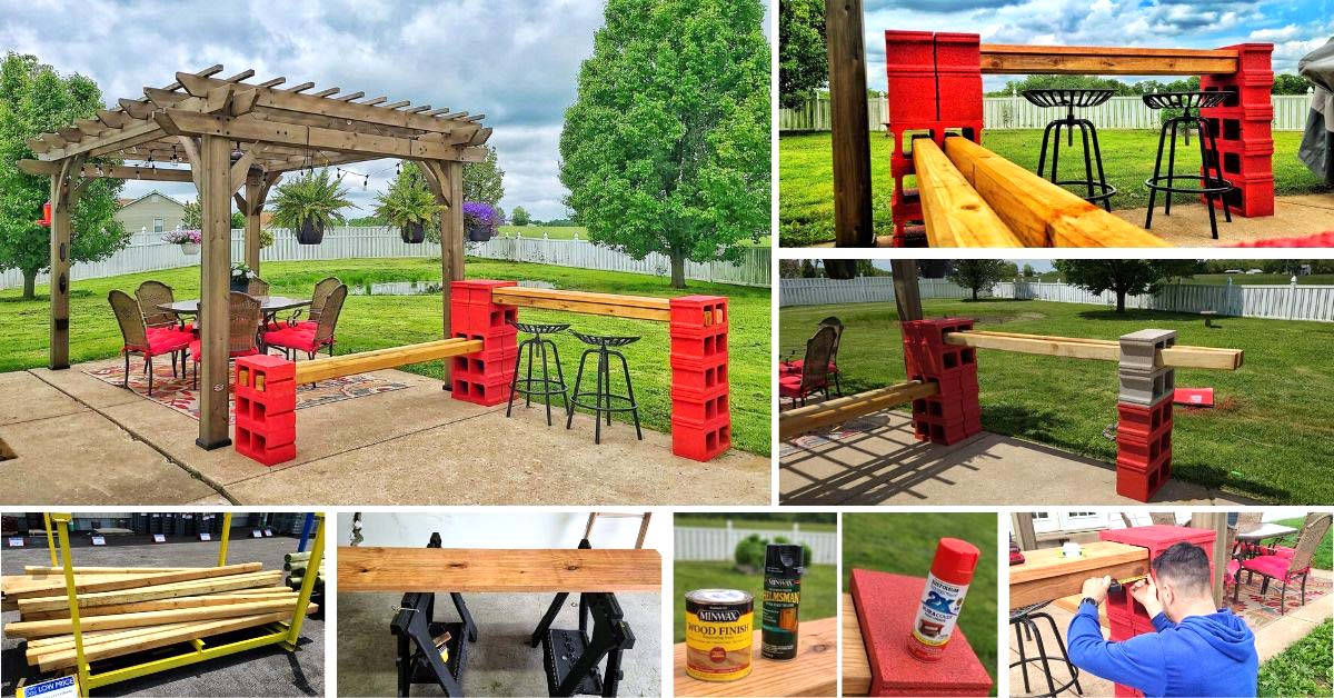 DIY Cinder Block Bar With Bench. How to make an easy cinder block bar with seating area.