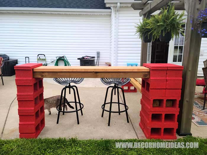 Diy Cinder Blocks Bar 4