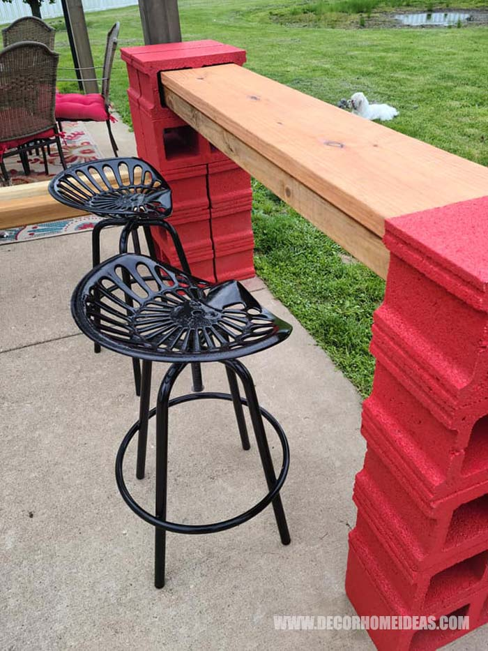 Diy Cinder Blocks Bar 6