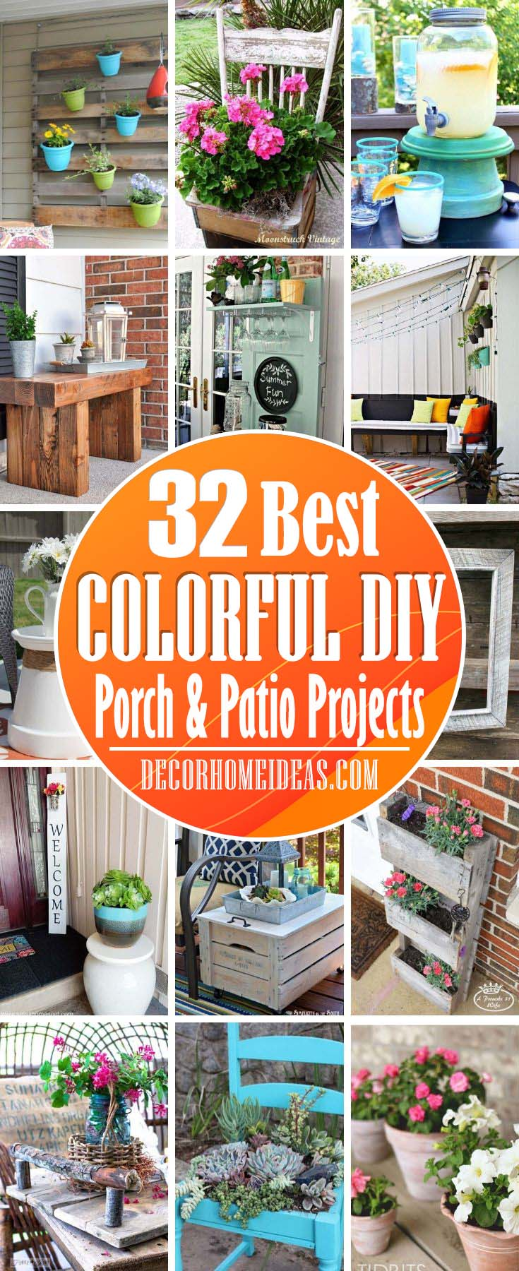 DIY Colorful Porch And Patio Projects. Add some color to your porch or patio with these colorful DIY projects that are cheap and easy to do. You'll be amazed how beautiful they are! #diy #porch #patio #colorful #decorhomeideas