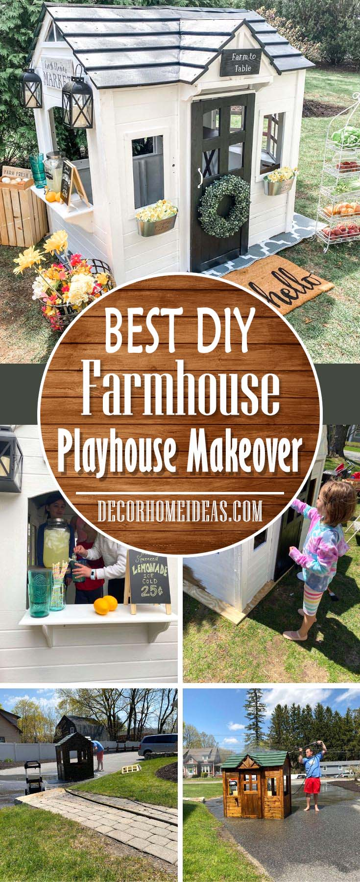 DIY Outdoor Farmhouse Playhouse Makeover. How to convert and old and worn playhouse into an adorable outdoor farmhouse style playhouse. #farmhouse #playhouse #makeover #diy #decorhomeideas