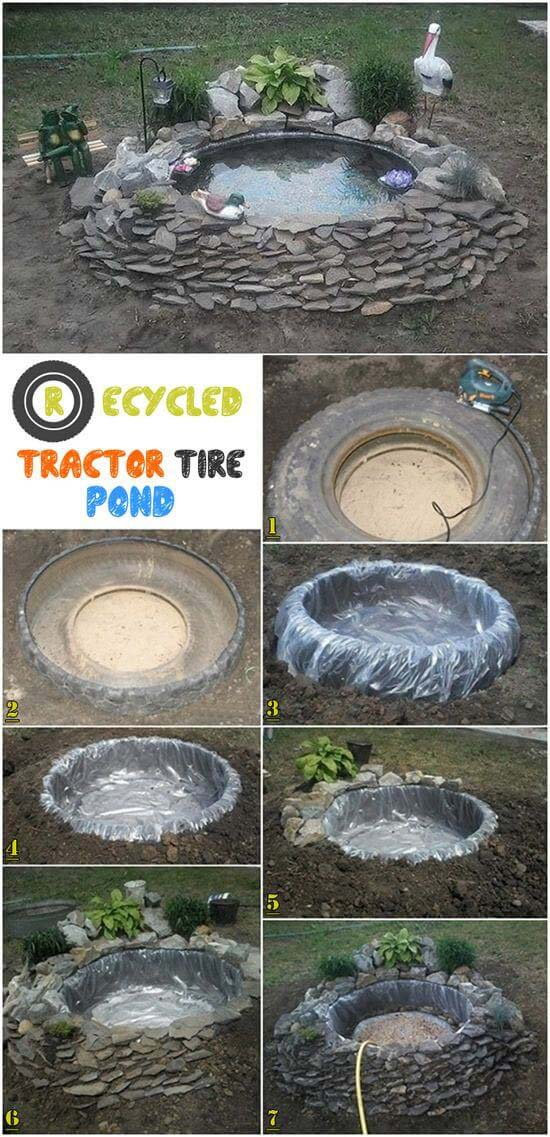 DIY Recycled Tractor Tire Water Feature #pond #diy #garden #waterfeature #decorhomeideas