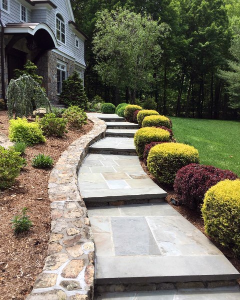 Front Yard Sidewalk Home Exterior Designs Stone Edging