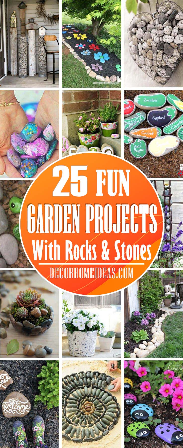 Fun Garden Project Ideas With Rocks And Stones. Creative DIY garden ideas to spruce up your backyard with rocks, stones and pebbles. #diy #garden #rocks #stones #decorhomeideas