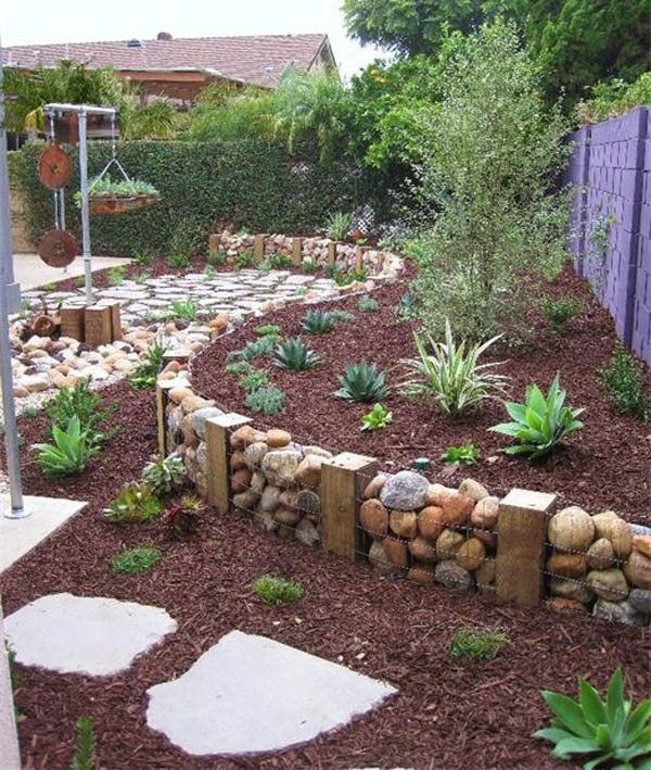 Gabion Garden Bed Edging With Stones