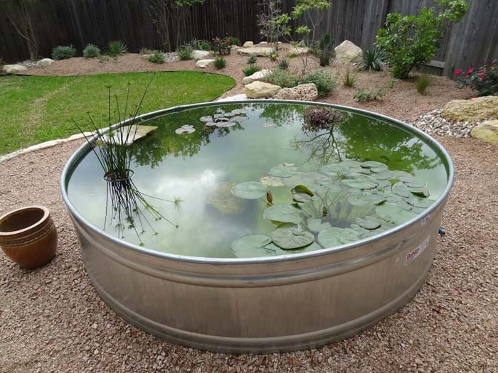 Galvanized Water Trough Pond #pond #diy #garden #waterfeature #decorhomeideas
