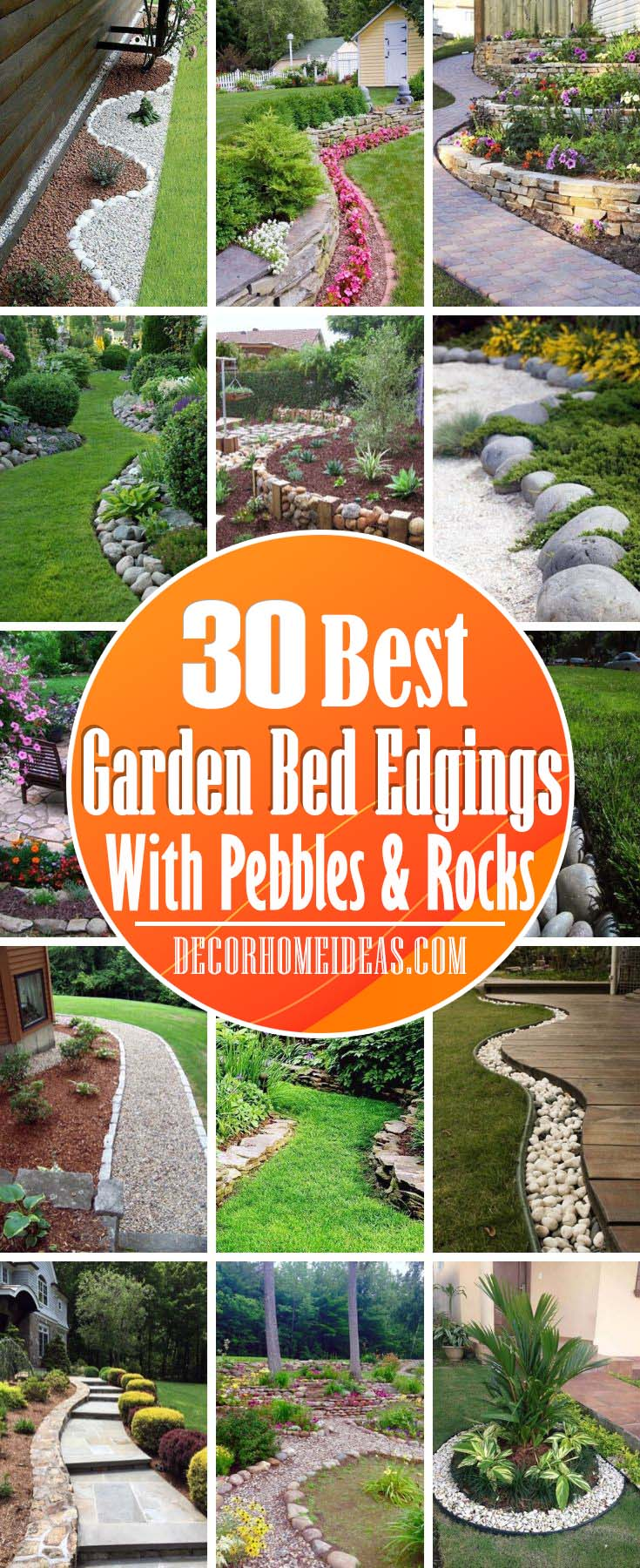 Garden Bed Edgings With Rocks And Pebbles. Creative ways to build a garden bed edging with stones, rocks and pebbles. Great for small garden, front yard or backyard. #garden #bed #edging #rocks #stones #pebbles #decorhomeideas