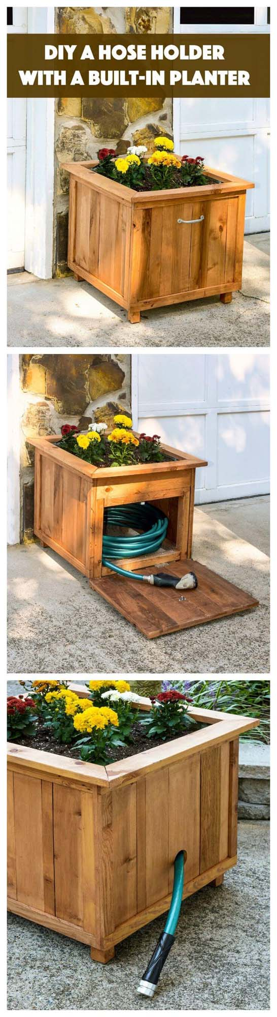 Gardener's Helper Planter Box & Hose Holder #diy #project #backyard #garden #decorhomeideas