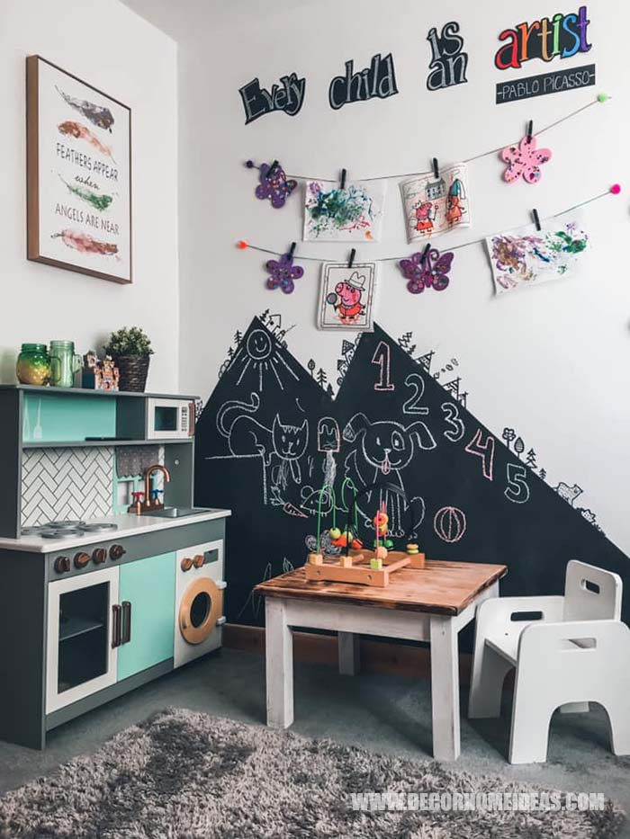 Girl Room Play Area How To Decorate Girl Room with Montessori method, DIY decorations and furniture, wall murals , play areas and toy storage. #diy #kidsroom #montessori #decor #decorhomeideas