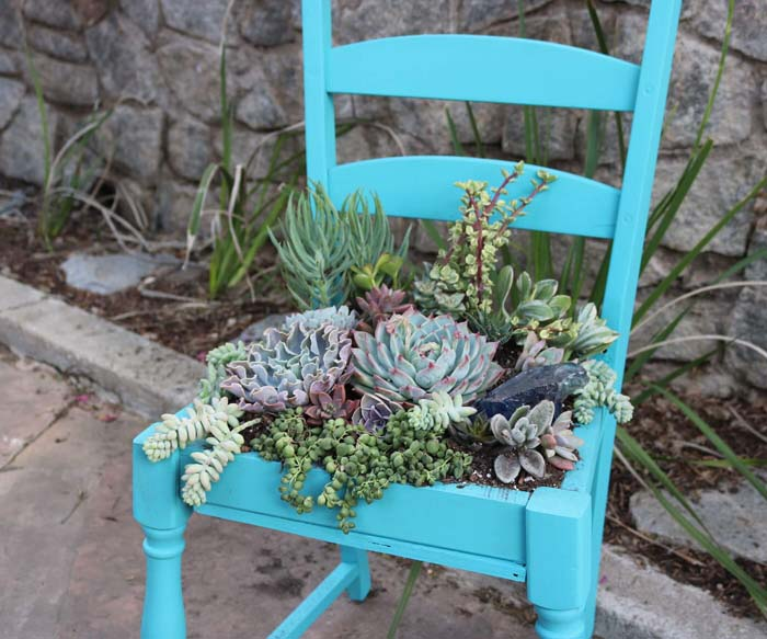 Give a Succulent Garden Its Own Seat #diy #porch #patio #projects #colorful #decorhomeideas