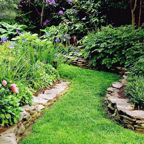 Grass Walkway Rocks Edging