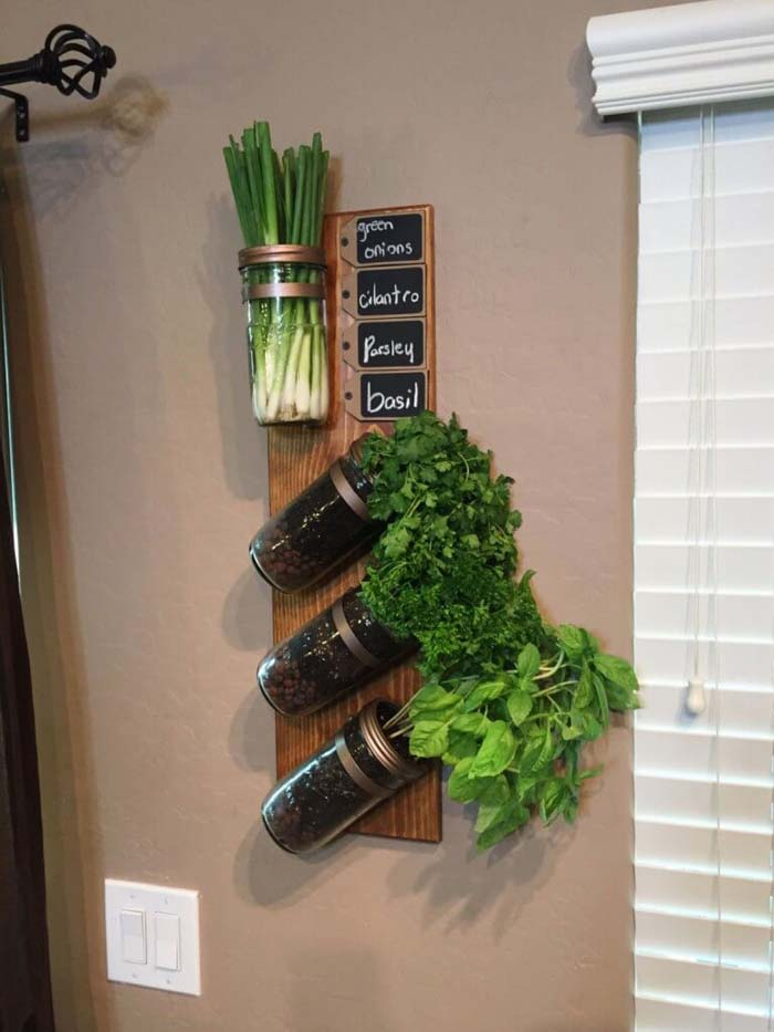 Hanging Jar Herb Garden 'With a Twist!' #diy #herbgarden #herbs #garden #ideas #decorhomeideas
