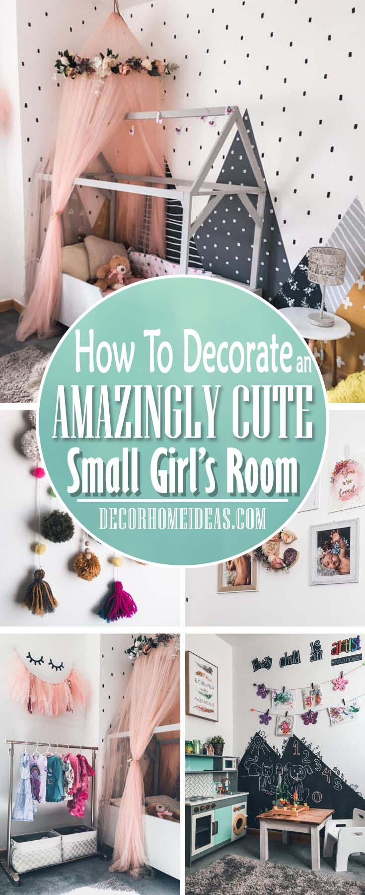 How To Decorate Girl Room with Montessori method, DIY decorations and furniture, wall murals , play areas and toy storage. #diy #kidsroom #montessori #decor #decorhomeideas