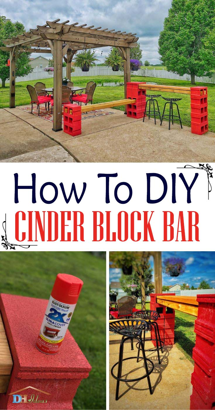 How To DIY Cinder Block Bar With Bench. Make a beautiful cinder block bar with seating area to compliment your pergola or outdoor area. #diy #cinderblock #bar #bench #decorhomeideas