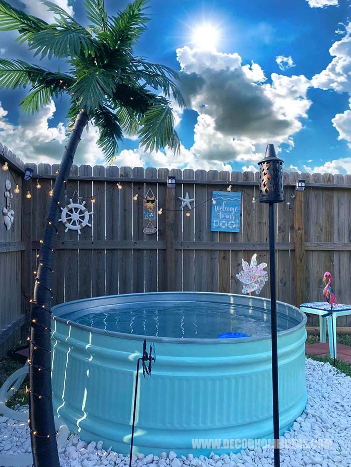 How To DIY Stock Tank Pool Quick. Are you dreaming of soaking in a pool all day long during the hot summer days? We have the perfect summer project for you - DIY Stock Tank Pool in pristine turquoise color. #diy #pool #tank #decorhomeideas