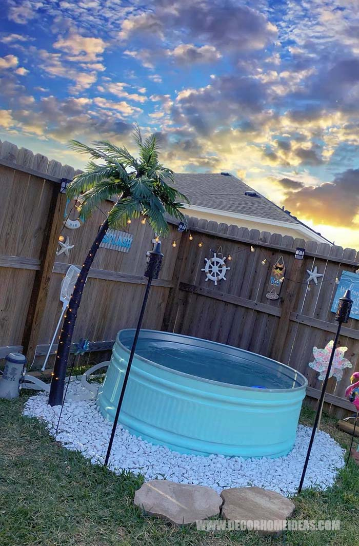 How To DIY Stock Tank Pool.  We have the perfect summer project for you - DIY Stock Tank Pool in pristine turquoise color. #diy #pool #tank #decorhomeideas