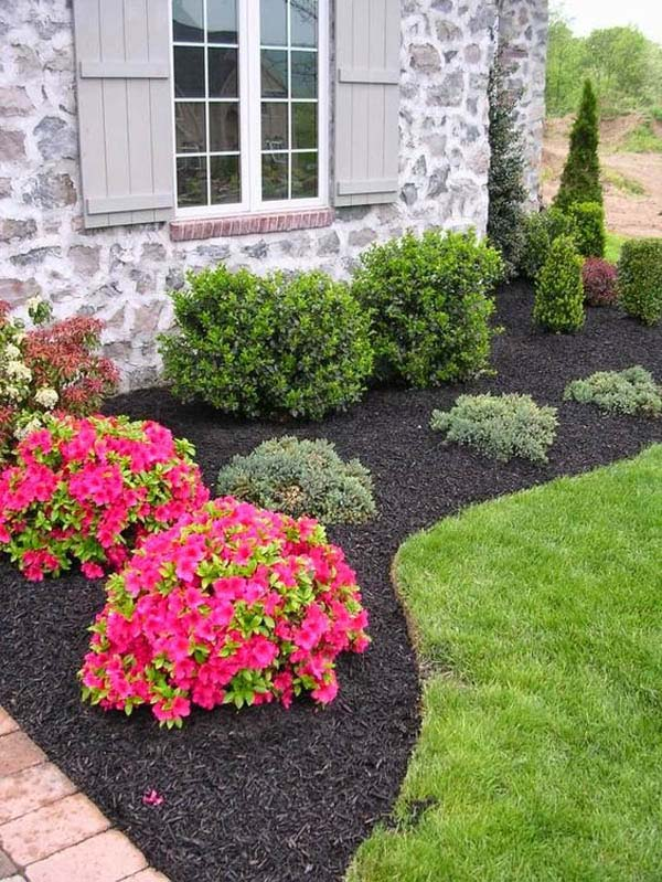 Landscaping Around House With Red Flowers