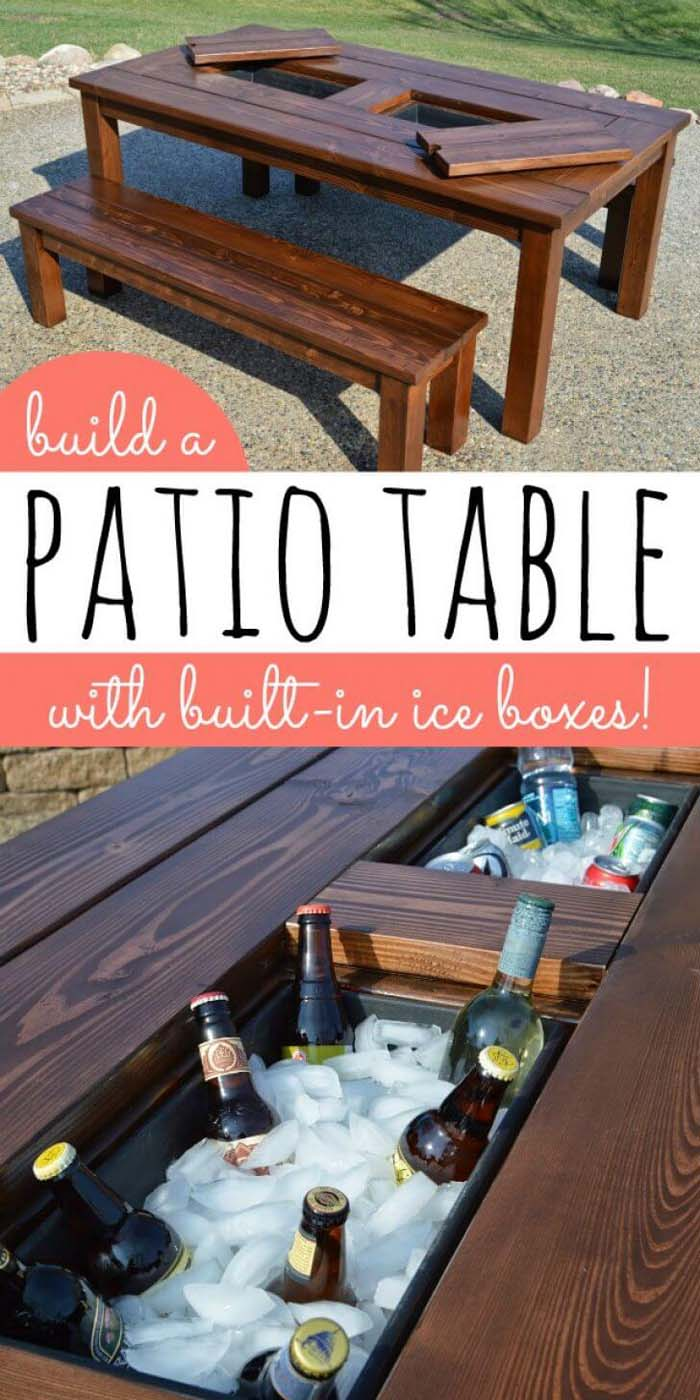 Lawn Party Luxury Table With Inlaid Icebox #diy #project #backyard #garden #decorhomeideas