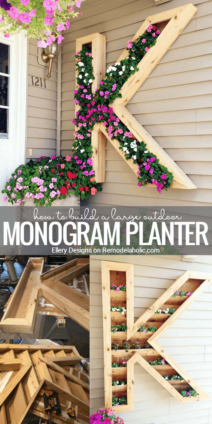 Monogram Wall Planter Picture Tutorial #diy #porch #patio #projects #colorful #decorhomeideas