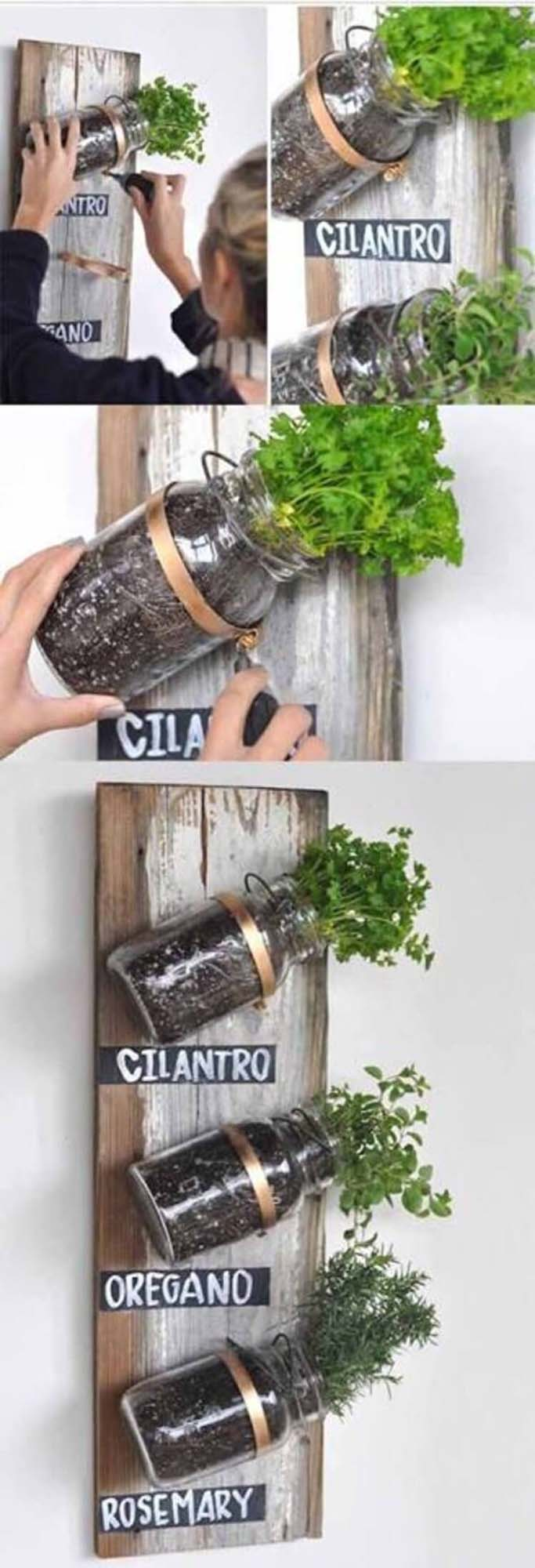 Mounted Mason Jars on Wood Panel Herb Garden #diy #herbgarden #herbs #garden #ideas #decorhomeideas