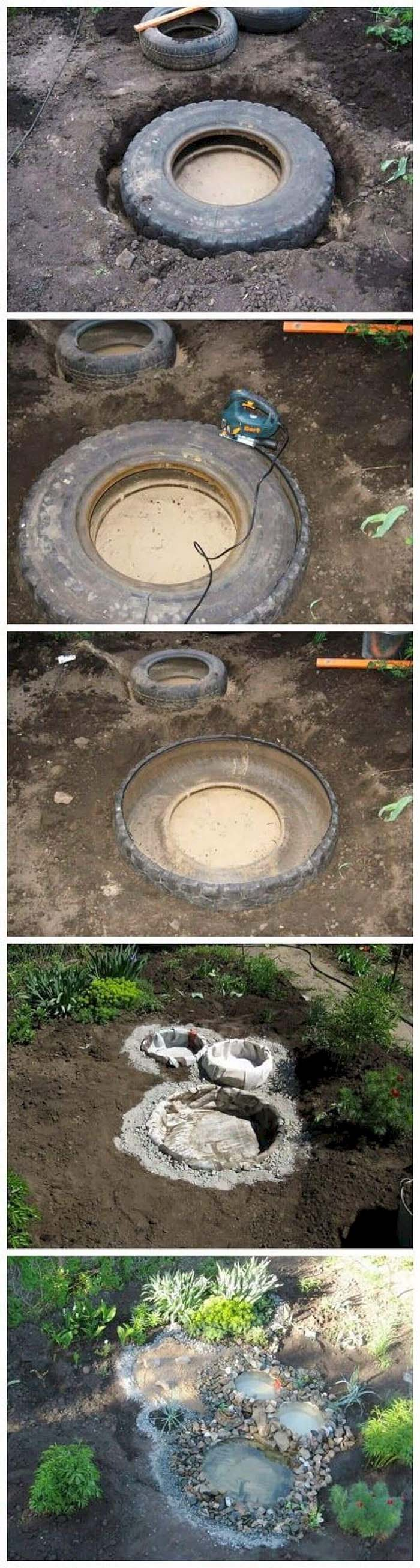 Multi-Basin Recycled Tire Water Feature #pond #diy #garden #waterfeature #decorhomeideas