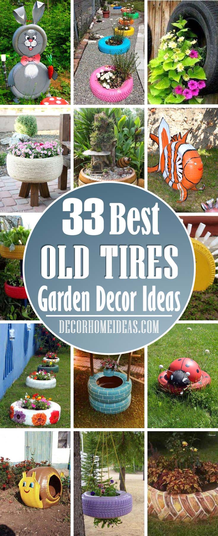 Best Old Tires Garden Decor. How to transform old tires into a beautiful garden decor. #garden #oldtires #tires #diy #decorhomeideas