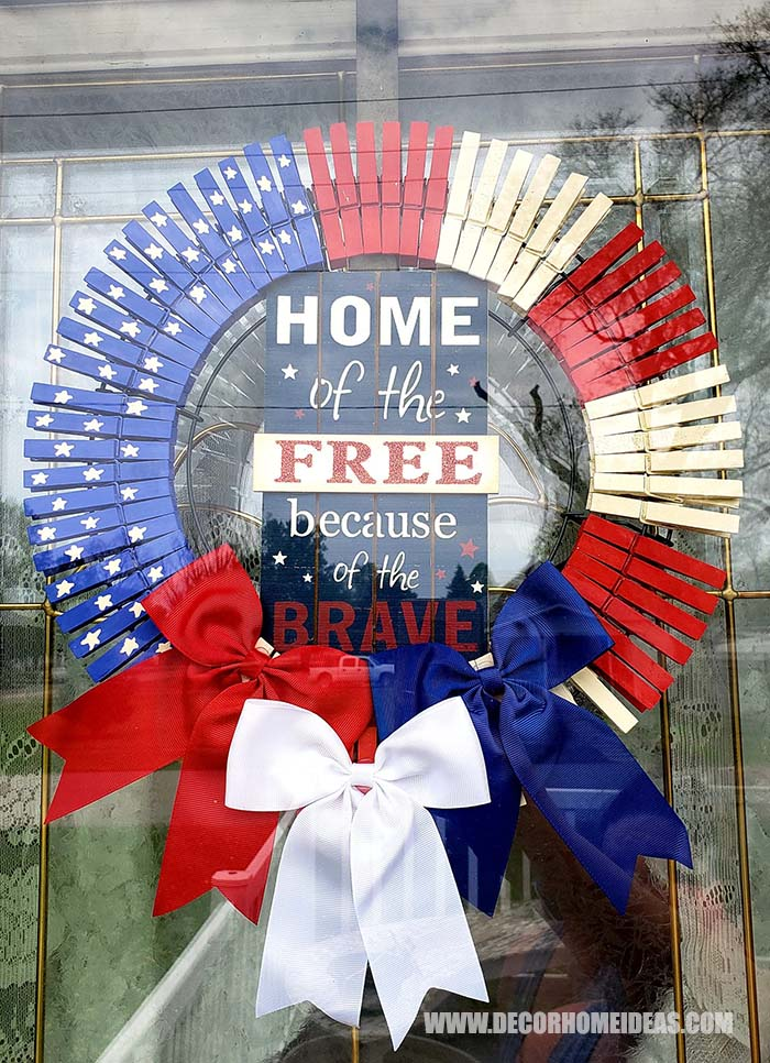Patriotic 4th Of July Clothespin Wreath #diy #clothespin #wreath #crafts #decorhomeideas