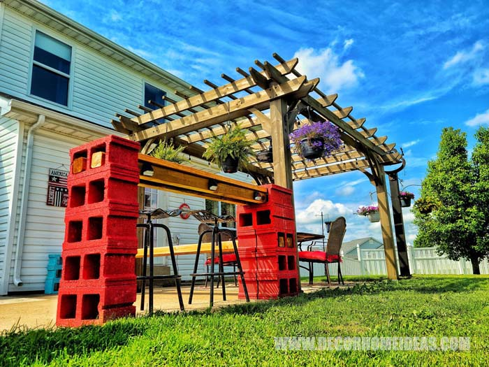Pergola With Diy Cinder Blocks Bar 6