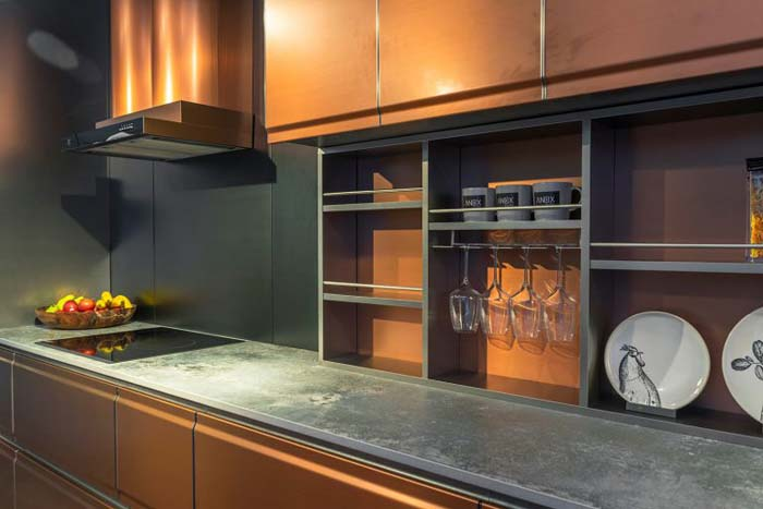 Glamorous Cabinets With Cladding In Platinum Color #kitchen #cabinets #metal #steel #decorhomeideas