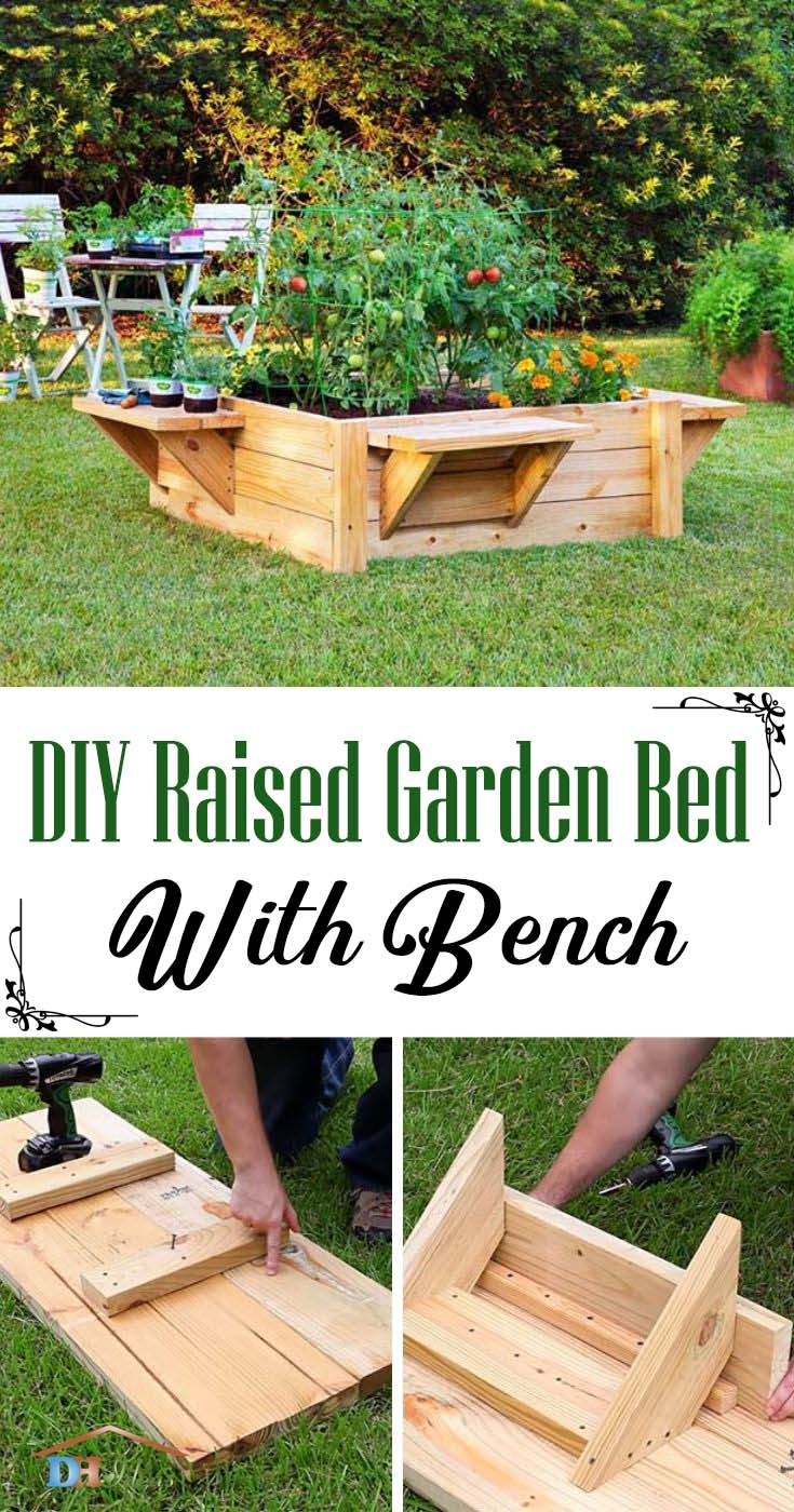 Raised Garden Bed With Bench. How to build a perfefct raised garden with bench, step by step tutorial, instructions and photos. #raisedbed #garden #diy #decorhomeideas
