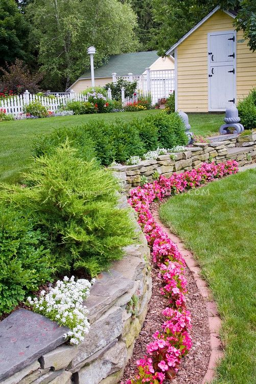 Rocks Garden Bed Edging With Flowers