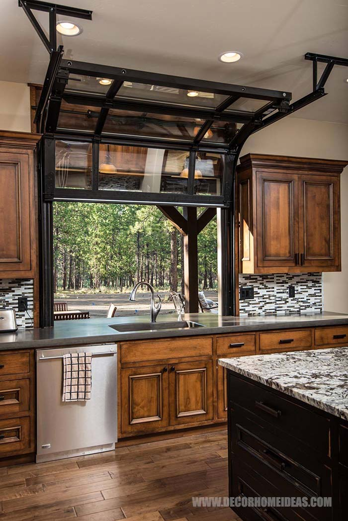 Roll Up Kitchen Window. Great idea to save space and have  beautiful view from your kitchen while enjoying some cool and fresh air. #rollup #window #kitchen #decorhomeideas