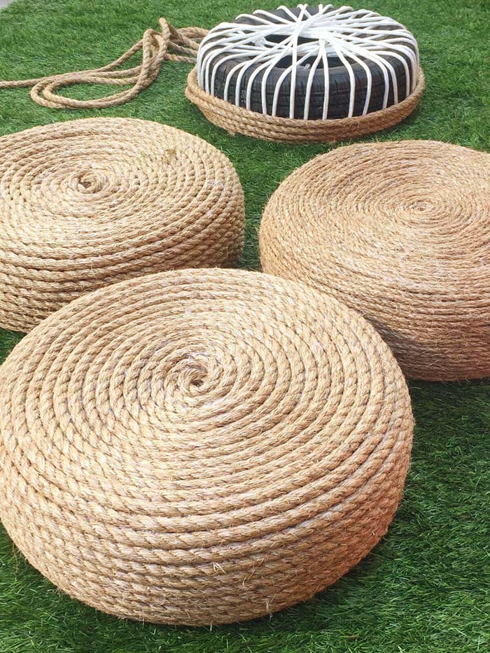 Rope Covered Recycled Tire Seats #diy #backyard #garden #projects #decorhomeideas